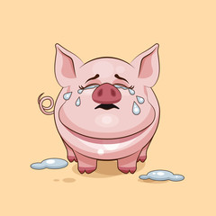 isolated Emoji character cartoon Pig crying, lot of tears sticker emoticon