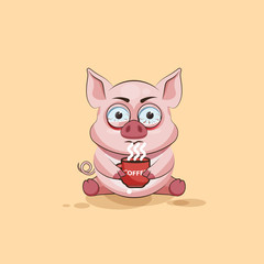 isolated Emoji character cartoon Pig nervous with cup of coffee sticker emoticon