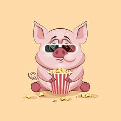 Emoji character cartoon Pig chewing popcorn, watching movie in 3D glasses sticker emoticon