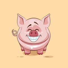 isolated Emoji character cartoon Pig with a huge smile from ear toear sticker emoticon
