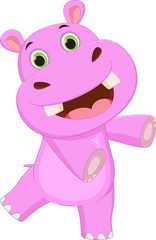 cute hippo cartoon waving