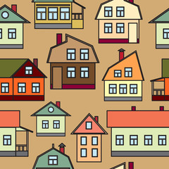 Seamless texture of urban homes. Dense buildings. Vector illustration.