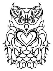 Big serious owl outline