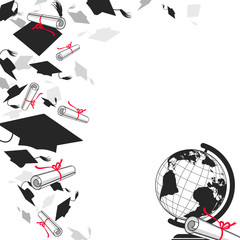 Graduate Caps with Diplomas and Globe