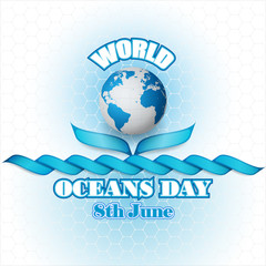 Abstract, design, background with World Oceans day, celebration