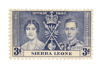 close-up image of sierra leone stamp.