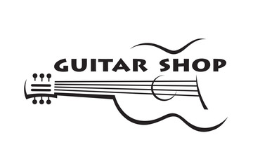 monochrome poster of  guitar with text