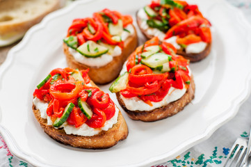 Roasted Pepper, Cucumber and Feta Bruschetta