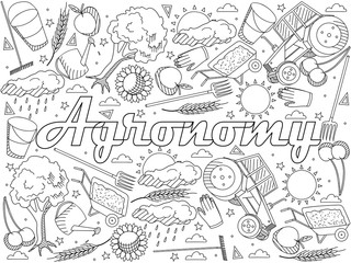 Agronomy coloring book vector illustration