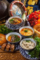 Oriental soups on the table
