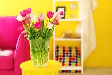 Design interior with beautiful fresh tulips
