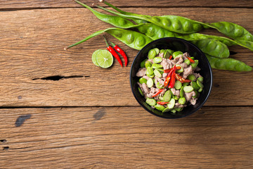 Thai Food Fired Parkia speciosa beans with Shrimp paste and pork Pad Sa tor
