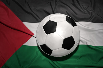 black and white football ball on the national flag of palestine