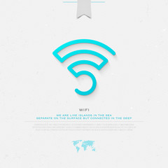 new thin line style wireless icon and wifi logo. isolated vector radio wave symbol. free internet connection zone sign. technology concept logotype with world map and banner template