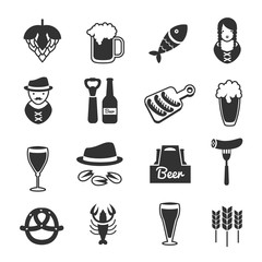 Black Beer Icon Set