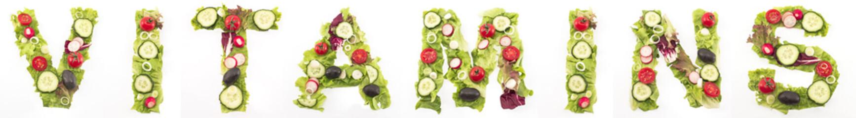Word vitamins made of salad