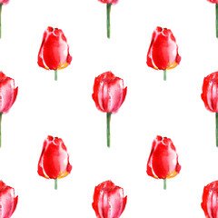 Floral seamless pattern.Tulip flowers.Watercolor hand drawn illustration.Garden flowers on a white background.