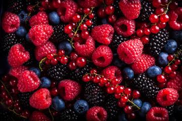 Berries assorted mix in studio dark background