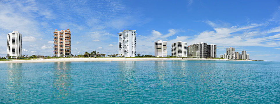 Beautiful panorama of the Singer Island, Florida skyline and Atlantic Ocean in the West Palm Beach area of South Florida.