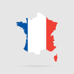 France flag. Silhouette