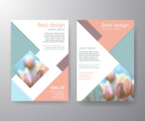 Vector brochure fyer design Layout template in A4 size. Vector Brochure Flyer design Layout template in A4 size. Pastel  color. Blur flower.