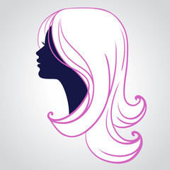 Woman face silhouette isolated on white background