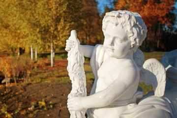 Garden marble statue of angel