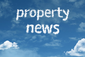Property News cloud word with a blue sky