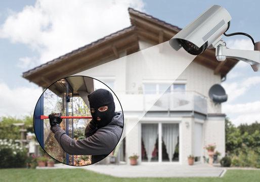 Surveillance Camera Capturing A Burglar
