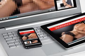 Adult Movie Is Displayed On Three Gadgets