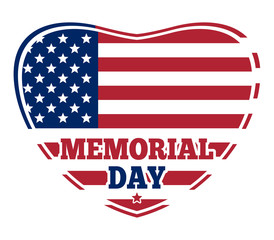 Memorial Day. US Flag in shape of heart. US symbol. Flag of the United States of America. American flag inside of the heart. Vector illustration
