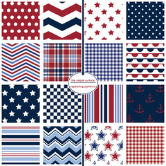 Repeating patterns for digital paper, scrapbooking, cards, invitations, announcements, gift wrap, backgrounds and borders. File includes: polka dots, chevrons, stars, stripes and gingham/plaid.