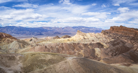 The panoramic view of Zabrinskie point overlooking Death Valley National Park in California.