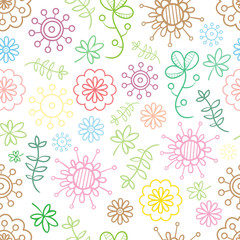 Seamless summer  floral  pattern on dark background. Vector contour image. Doodle style. Meadow with colorful flowers.