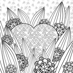 Whimsical garden adult coloring page. Hand drawn vector illustration.