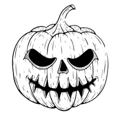 Scary Halloween Pumpkin With Smile And Sketchy Style