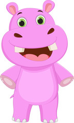 cute hippo cartoon posing