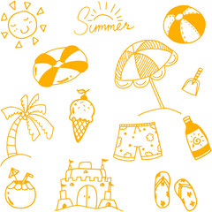 Hand draw summer doodle