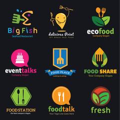 food and restaurant logo set.
