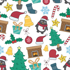 Seamless Pattern Of Christmas Elements Or Icons With Colorful And Doodle Style