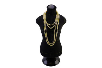 macro dummy black color for sewing clothes with a necklace of pearls on the neck. isolate on white background