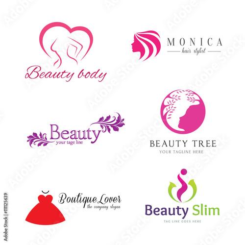 Set Of Vector Logos Beauty Salonlogos Design