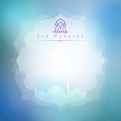 Eid Mubarak card background for greeting celebration with arabic calligraphy