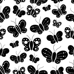 Seamless Pattern Of Silhouette Butterfly With White Background