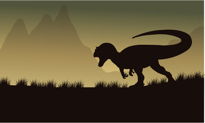 Allosaurus silhouette in fields