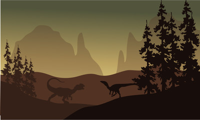 Silhouette of allosaurus and Eoraptor