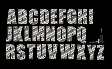 Bullet Holes alphabet set on black with clipping path included.