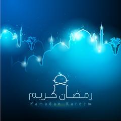 ramadan kareem islamic mosque silhouette glow light background