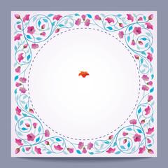 Retro Round Frame Vector Flower Banner Background - Vector Illustration