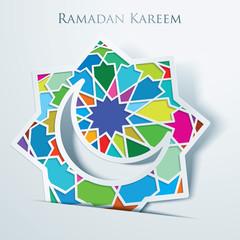 Ramadan kareem Arabic Calligraphy and Islamic Crescent with Colorful Arabic Pattern Mosaic
